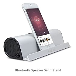 LuguLake Portable Rechargeable Stereo Bluetooth Speaker Stand, Built in 3.5 mm Aux Port, for Smartphones & Tablets: (Sliver)