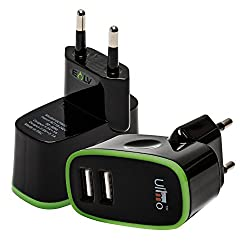 Wall Charger, E LV 2 Port Auto Detect Technology USB Wall Travel Charger Adapter for iPad / iPhone 6/6s, iphone 6s plus, 5s/5c/5/4s/4; iPad Air mini, Samsung, HTC (all models), Motorola, Google Nexus 4, 5, 7, 10 and More phone - BLACK/GREEN