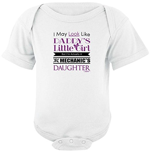 Baby Shower Gift Daddy's Girl But I'm Mechanic's Daughter Bodysuit 6 Months White (Ford Tech Shirt compare prices)