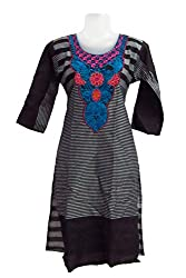 revin grey with blue and pink colour polycotton long kurti