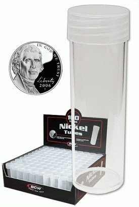 COIN STORAGE TUBES, round clear plastic w/ screw on tops for NICKELS (Quantity of 5 tubes)
