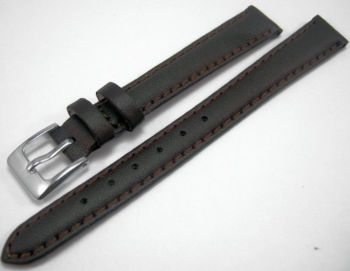 Brown Padded Leather Watch Strap Band With A Stitched Edging And Nubuck Lining 14mm