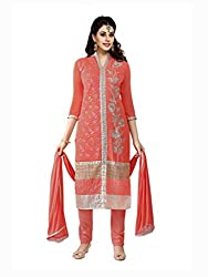 Peach Embroidered Pure Semi Georgette Salwar Suit