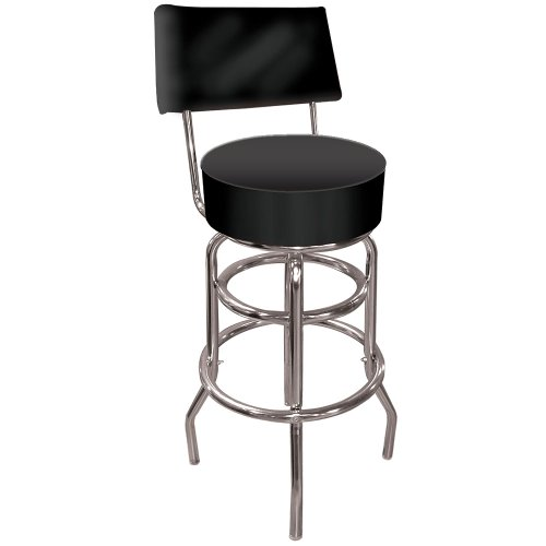 Trademark High Grade Black Padded Bar Stool With Back, Black front-621516
