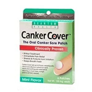 Quantum Health Canker Cover Oral Canker Sore Patch, Mint Flavor, 150mg,  6-Count Box (Pack of 3)