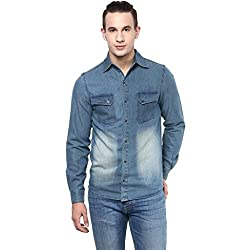 Atorse Mens Blue Casual Denim Shirt with Faded Patch