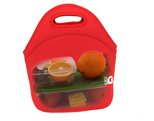 pag neoprene keep cool and warm lunch tote portable lunch bag for bento box small red office. Black Bedroom Furniture Sets. Home Design Ideas