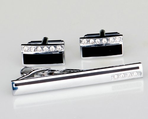 Lodestar Galaxy Rectangular Black Stripe Gems Cufflink & Tieclip Set with Gift Box (ACV-04)