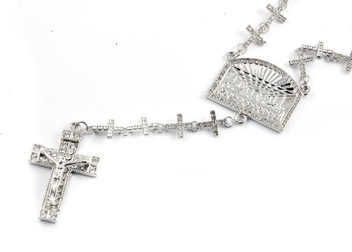 New! Iced Out Cross Linked Chain Rosary w/ The Last Supper & Paves Cross SILVER