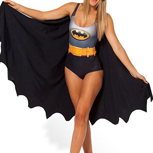 Lady Queen Women's Batman Logo Swimsuit One-piece Swimwear Cover up Monokini