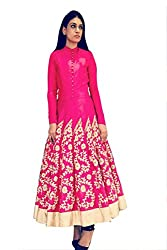Snapyshopy Outstanding Pink Colored Embroidered Banglori Silk Indo Western Gown