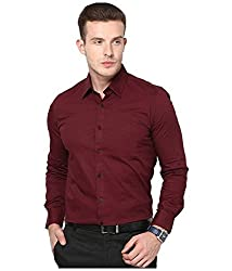 Frankline Men's Formal Shirt (Frankline-61_Maroon_40)