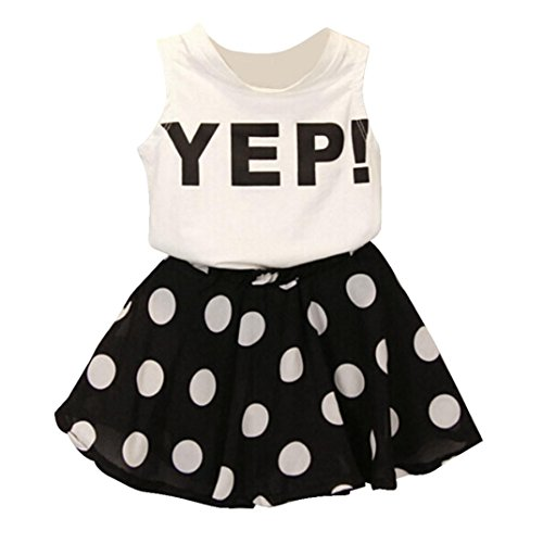 2016Niñas Feitong Chaleco Dot falda dos piezas traje falda infantil blanco roto blanco Talla:140