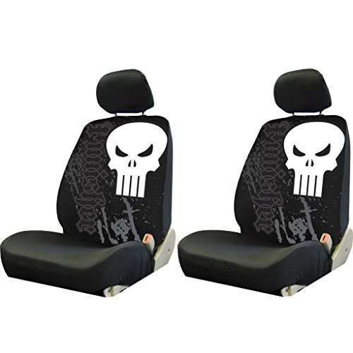 2 PIECE MARVEL PUNISHER BLACK LOW BACK SEAT COVERS NEW SET CARS TRUCKS VANS SUVS (Skull Seat Covers A compare prices)