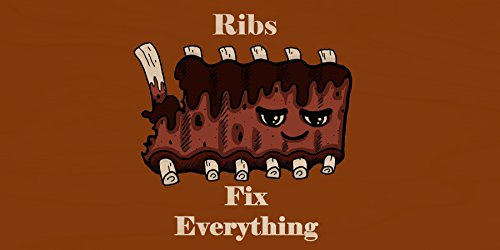 """""""Ribs Fix Everything"""" Food Humor Cartoon - Plywood Wood Print Poster Wall Art front-285596"""