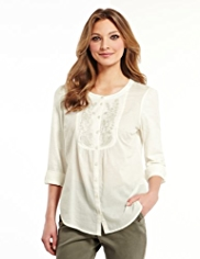 Indigo Collection Pure Cotton Embroidered Bib Front Shirt