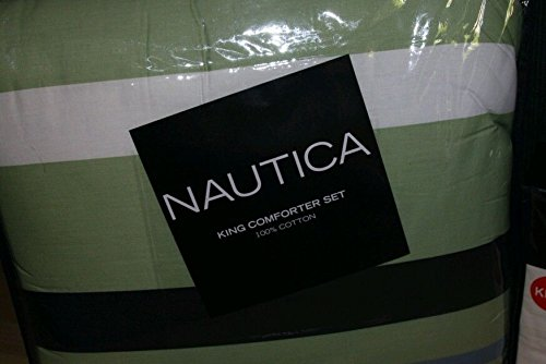 Nautica Palmdale Green Navy Blue Stripe Full/Queen Comforter Set back-982735