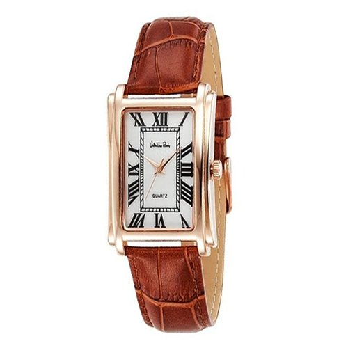 Valentino Rudy Rectangular Face Leather Strap Water Resistant Watch - No. 1060 (Dial White, Band Color Brown)