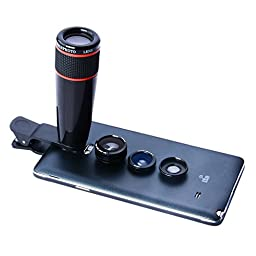 Apexel 4 in 1 Camera Lens 12x Telephoto Lens/Fisheye/ Wide Angle + Macro Lens with Universal Clip for iPhone iPad Samsung Galaxy Sony LG Motorola HTC Black