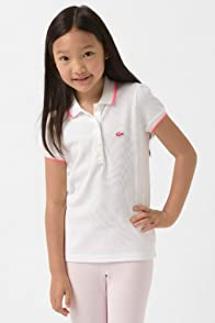 Girl's Classic Pique Polo with Tipping and Neon Croc