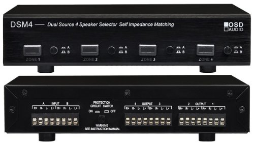 Osd Audio Dsm4 4-Zone Dual Source Speaker Selector With Impedance Protection