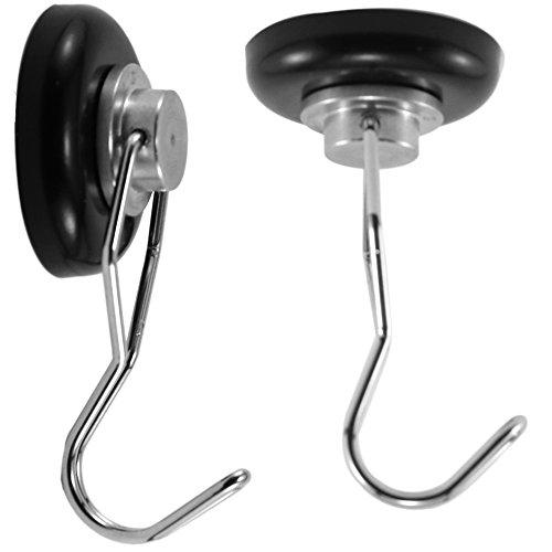 McKnight Tools Magnetic Hooks 90+lb Strong Heavy Duty Magnets & Hanger Hook Holder (Black, 1 Pair)