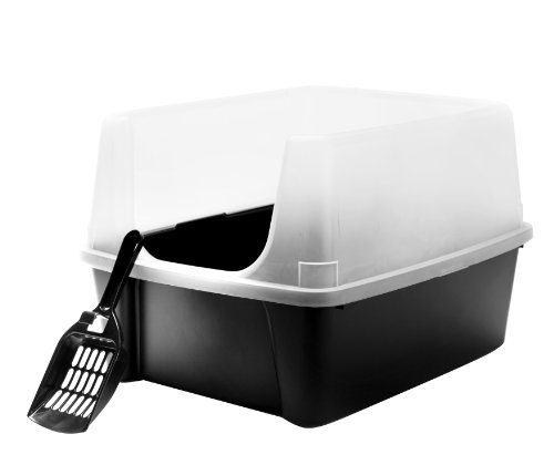 iris-open-top-cat-litter-box-kit-with-shield-and-scoop-black