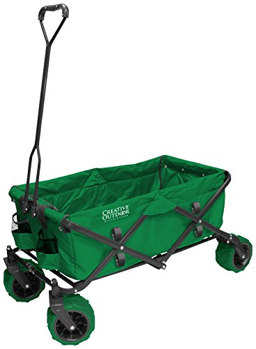 Creative Outdoor Big Wheel All Terrain Camping, Beach, Garden, for Kids and Toddlers Collapsible Folding Multipurpose Wagon Cart - Green (Beach Wagon With Big Wheels compare prices)