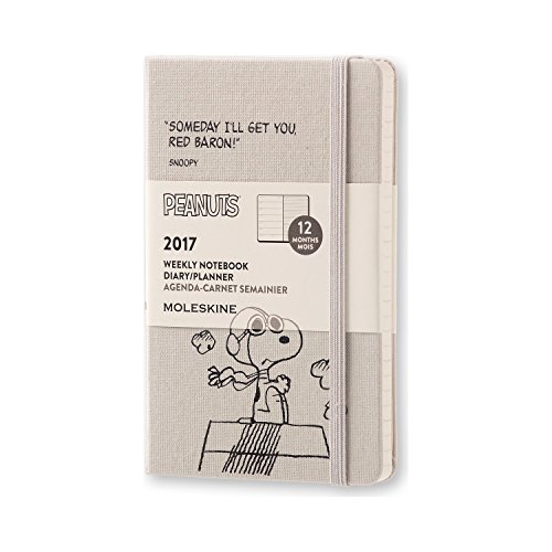 Moleskine 2017 Peanuts Limited Edition Weekly Notebook, 12M, Pocket, Light Grey, Hard Cover (3.5 x 5.5)