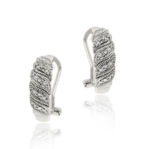 Sterling Silver Diamond Accent Leaf Design Hoop Earrings