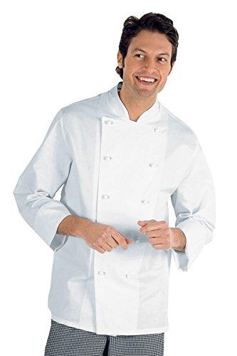 Isacco Giacca Cuoco Classica - Isacco Bianco, Bianco, XXL, 100% Cotone, Manica Lunga, Bottoni antipanico - Tessuto 190 gr/m²