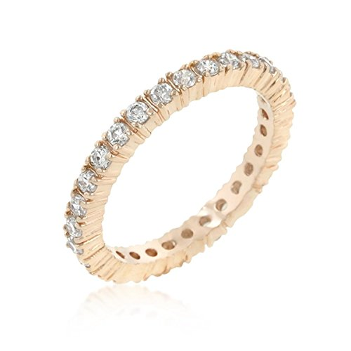 Classic Cubic Zirconia Rose Gold Colored Eternity Ring, Clear- Size 9