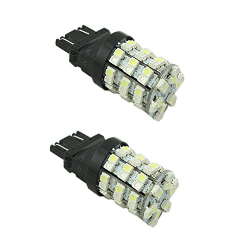 Everbright (Pack Of 2 Pcs White) T25 3157 60Smd 1210 Switchback Led Bulbs For Car Turn Brake Signal Light 3157 60-Smd 3528 60 Led Dc12V Rear Lamp Backup Bulbs White/Amber
