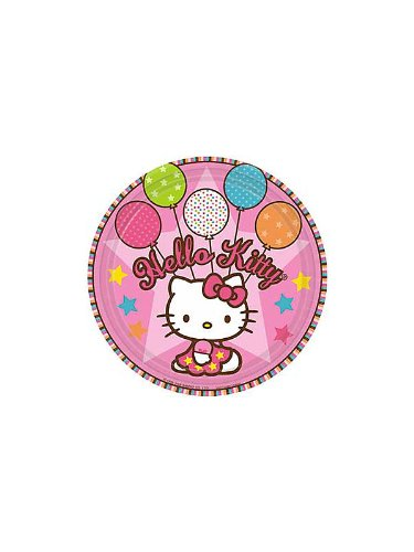 Amscan Unisex Adult Hello Kitty Balloon Dreams Dinner Plates Black Medium - 1