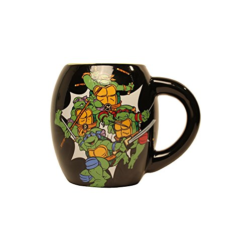 Silver Buffalo NT1844 Teenage Mutant Ninja Turtles Group Shot Sewer Oval Curved Ceramic Mug, 18 oz, Black (Ninja Turtle Coffee Mug compare prices)