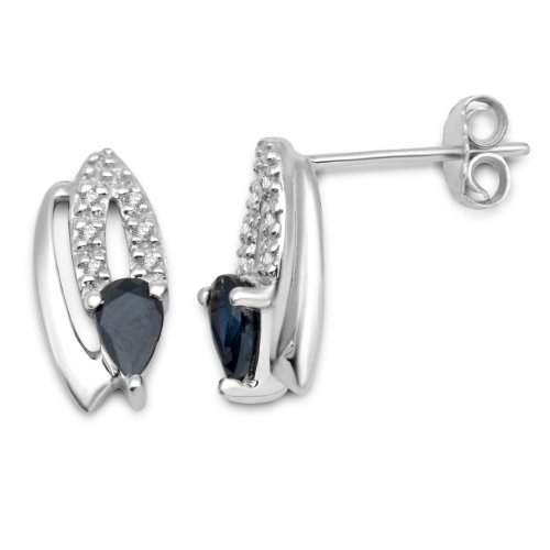 Miore 9ct White Gold Diamond and Blue Sapphire Stud Earrings MT034E