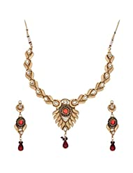 Shahenaz Jewellers 24 Ct Gold Plated Bridal Jewellery Set With CZ And Marquis Stones For Women - B00R2IOEKK