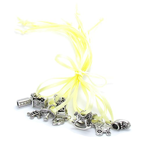 Roxy Jewels - 10 Piece Baby Shower Cake Pull Tradition Favor Charms, Perfect for Mother to Be Best Wishes Bracelet (Ribbon NOT Included) - 1