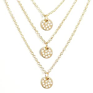 Wrapables Three Strand Crystal Disc Pendant Necklace, Gold Plating