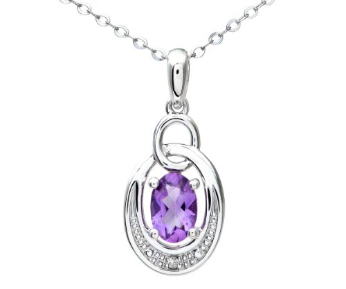 9ct White Gold Pave Set Diamond and Amethyst Drop Pendant and Chain of 46cm