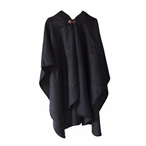 Poncho fatto a mano in lana di alpaca mantella da donna pashmina con motivi maya tessuto a mano disponibile in diversi colori (nero)