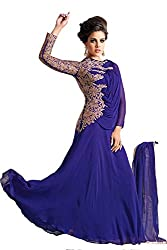 Clickedia Women's Georgette Blue Heavy Embroidered Gown(1007-blue gown)