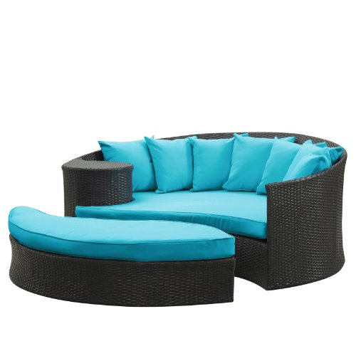 Lexmod Taiji Outdoor Wicker Patio Daybed With Ottoman In Espresso With Turquoise Cushions front-761021