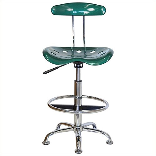 LF-215-GREEN-GG Vibrant Green and Chrome Drafting Stool with Tractor 300728