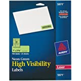 Avery High Visibility 1 x 2 5/8 Inch Fluorescent Green Labels 750 Pack (5971)