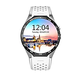 ATECKING Built-in Android 5.1 OS Smartwatch Phone with GPS Google Map Play WiFi White