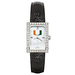 CZNSW22381Q-w-Black Leather University of Miami Watch with Cz Frame by NCAA Officially Licensed