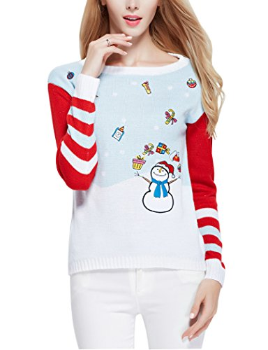 Christmas Cute Santa Embroidered Knitted Deer Pullover Sweater Jumper