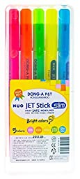 DONG-A Nuo JET Stick Slim Highlighters, 5 Color Set