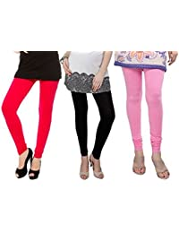 K.P.Creation Pink, Black & Red Legging Pack Of 3 (Free Size)